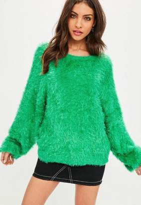 Missguided Green Dolma Eyelash Sweater