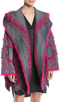 Issey Miyake Chromatic Eagle Hooded Cardigan with Fleece Trim