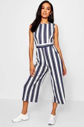boohoo Petite High Neck Striped Jumpsuit