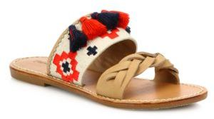 Soludos Embroidered Tassel Leather Slides $99 thestylecure.com