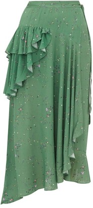 Preen Line Electra Ruffled Floral Print Crepe Wrap Skirt - Womens - Green Multi