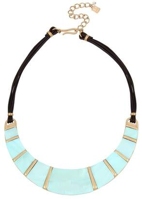 Robert Lee Morris Blue Mother of Pearl Inlay Leather Necklace