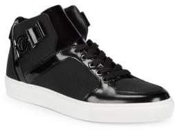 Versace Leather Hi-Top Lace-Up Sneakers