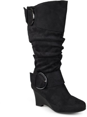 Co Brinley Womens Extra Wide-Calf Slouch Buckle Wedge Knee-High Boot
