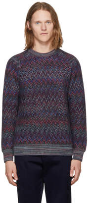 Missoni Navy Zig Zag Crewneck Sweater