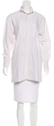 eskandar Striped Button-Up Top