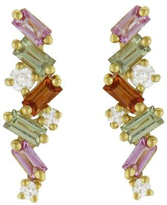 Suzanne Kalan Pink and Green Sapphire Baguette Diamond Stud Earrings - Yellow Gold