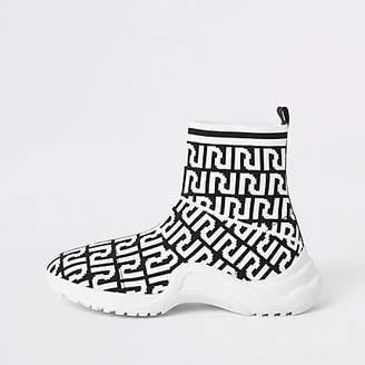 River Island Girl black RI monogram sock sneakers