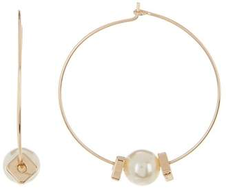 Ettika Faux Pearl Wire 51mm Hoop Earrings