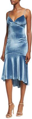 Theia Velvet Flounce-Hem Sleeveless Slip Cocktail Dress
