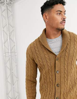 Asos Design DESIGN cable knit cardigan in tan