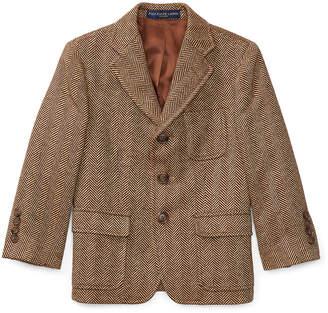 Ralph Lauren Childrenswear Wool-Linen Princeton Herringbone Blazer, Size 2-3
