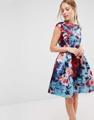 Closet London Closet Satin Floral Print Sleeveless Skater Dress $126 thestylecure.com