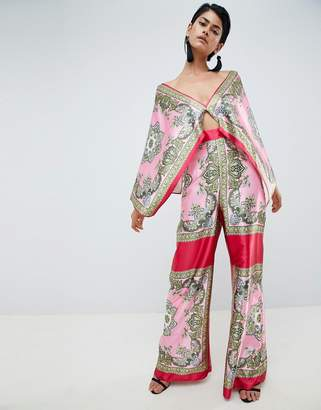 Asos DESIGN Tile Print Draped Sleeve Jumpsuit