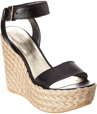 Stuart Weitzman Let's Dance Leather Wedge Sandal