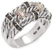 Effy 18K Yellow Gold, 0.39 TCW White & Black Diamond & Sterling Silver Ring