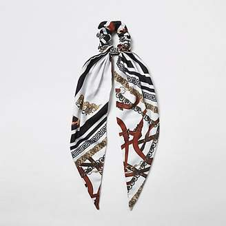 River Island Black chain print scrunchie scarf