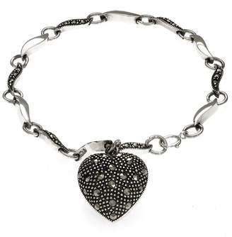 John Greed Anna Puffed Marcasite Dangle Heart Bracelet
