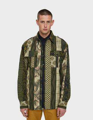 Dries Van Noten Patchwork Shirt Jacket in Kaki