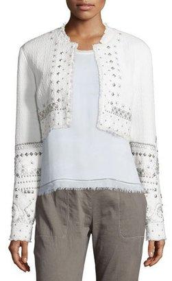Elie Tahari Doris Embellished Cropped Jacket, White $598 thestylecure.com