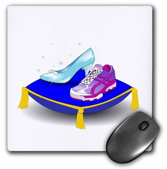 3dRose Running shoe and Princess glass slipper high heel on pillow. Girl woman runner run track race racing, Mouse Pad, 8 by 8 inches