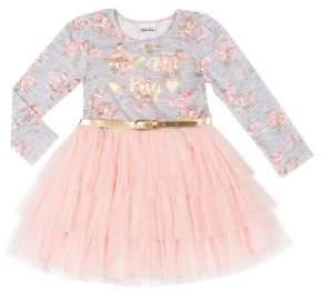 Little Lass Little Girl's Floral Belted Dress