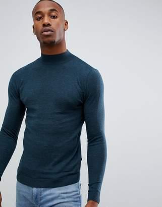 Asos Design DESIGN muscle fit turtleneck sweater in teal
