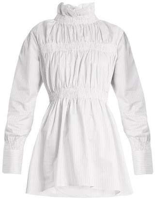 Teija - Ruffled Collar Cotton Poplin Shirt - Womens - White