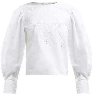 Etoile Isabel Marant Wona Broderie Anglaise Cotton Blouse - Womens - White