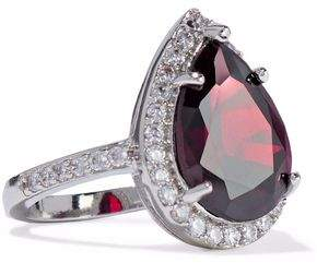 Kenneth Jay Lane Cz By Silver-Tone Crystal Ring