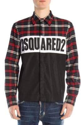 DSQUARED2 Heavy Check Logo Button-Down Shirt