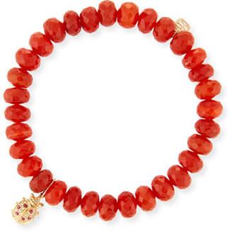 Sydney Evan Carnelian Bead & 14k Ladybug Charm Bracelet