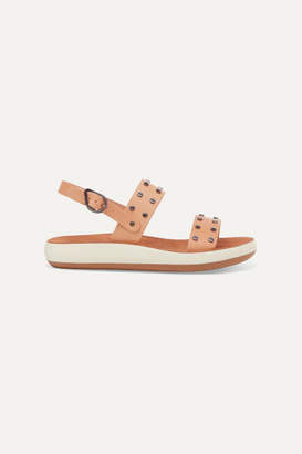 Ancient Greek Sandals Dinami Studded Leather And Suede Slingback Sandals