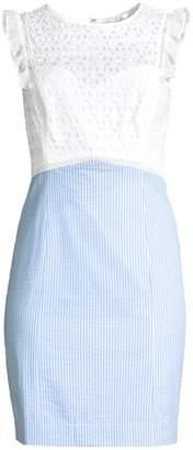 Lilly Pulitzer Maya Stripe & Lace Eyelet Sheath Dress