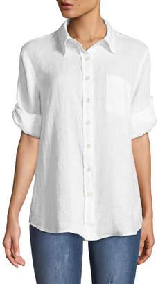 Allen Allen Linen Roll-Sleeve Blouse