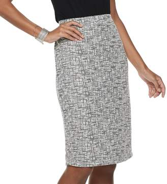 JLO by Jennifer Lopez Women's Pull-On Boucle Pencil Skirt