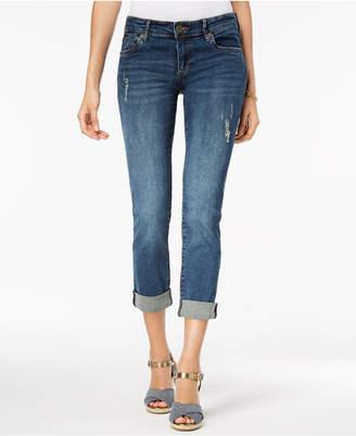 KUT from the Kloth Petite Katy Cuffed Destructed Boyfriend Jeans