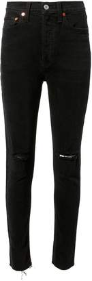 RE/DONE High-Rise Black Destroyed Crop Jeans
