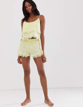6c1ac9cc9e588 Asos Design DESIGN mix & match broderie pyjama frill short