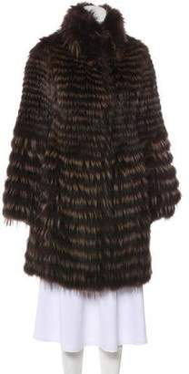 Cassin Striped Fox Fur Coat
