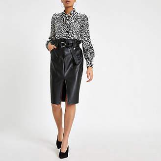 River Island Black paperbag waist pencil skirt