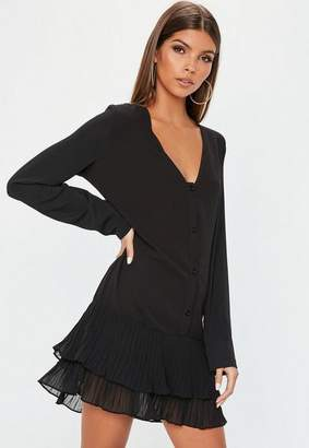 Missguided Black Pleated Hem Long Sleeve Shift Dress