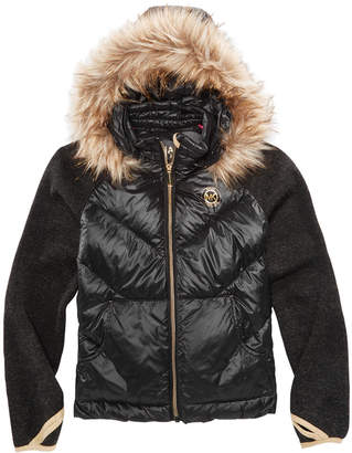 Michael Kors Little Girls Jacket with Removable Faux-Fur-Trimmed Hood
