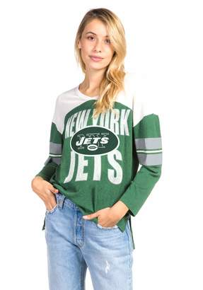 Junk Food Clothing Women's Hunter New York Jets Throwback Football Tee