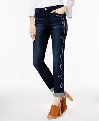 INC International Concepts I.n.c. Petite Embroidered Indigo Wash Boyfriend Jeans, Created for Macy's