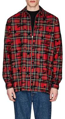 Palm Angels Men's Flocked-Logo Plaid Wool Shirt