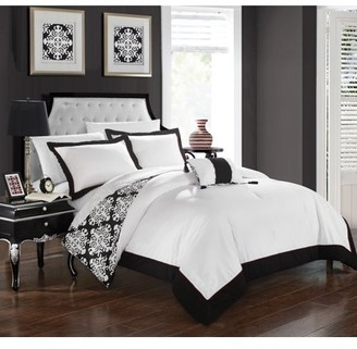 Hotel Collection Chic Home 3-Piece Maribeth Black and White REVERSIBLE Medallion printed PLUSH Twin Duvet Cover Set Black