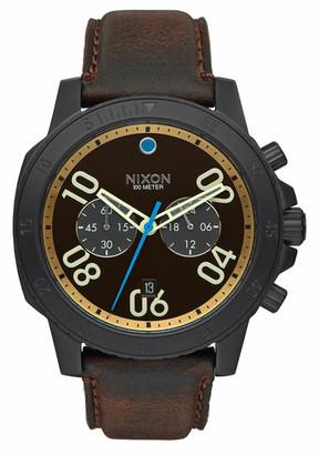 Nixon Men's Chronograph Leather Strap Watch $375 thestylecure.com