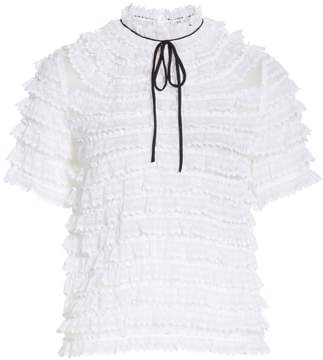 Sandro Ruffle Lace Silk Blouse