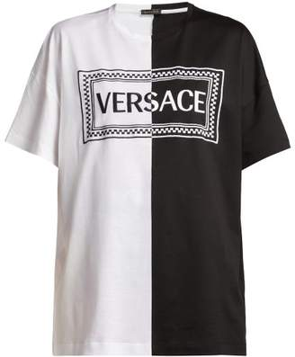 Versace - Logo Embroidered Bi Colour Cotton T Shirt - Womens - Black White